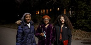 From left: Aliyah Abid, Yashira Valenzuela-Morillo, and Kimberly Vasquez on Jan. 25, 2021. PHOTO: Kaitlin Newman for Buzzfeed